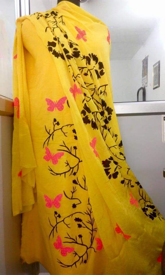 Delightful Hand Painted Cotton Silk Suit in Yellow Color With Dupatta