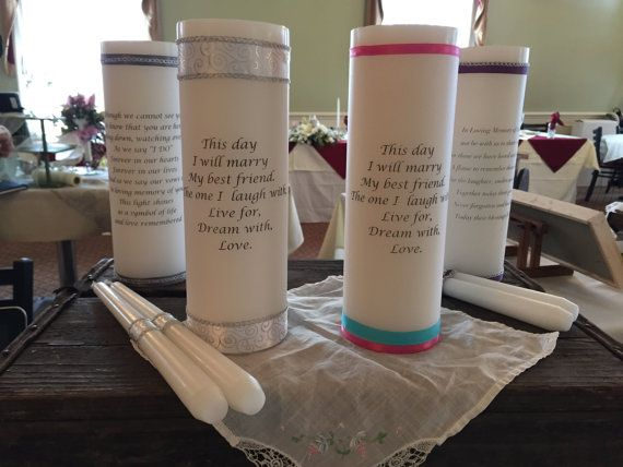 Wedding Unity Or Memory Candle Customized White Off Poem Names Etc