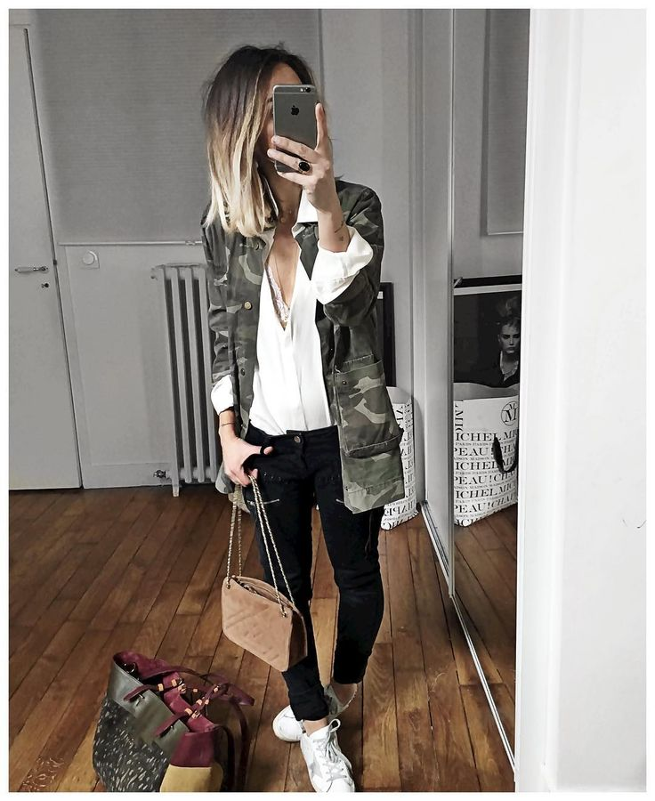 """""""Sous le manteau avant changement de chaussures! • Jacket #sincerelyjules (old) • Silk Shirt #aninebing (from @cyrielleforkure) • Jean #hironae (old) • Bag…"""""""