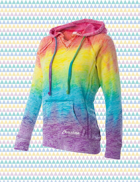 Rainbow TieDye Hoodie With Personalization by TingsCustomClothing, $32.50- Etsy