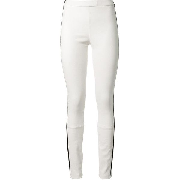 Haider Ackermann White Leather Leggings ($1,585) ❤ liked on Polyvore featuring pants, leggings, striped leggings, genuine leather leggings, pull on pants, leather legging pants and leather pants
