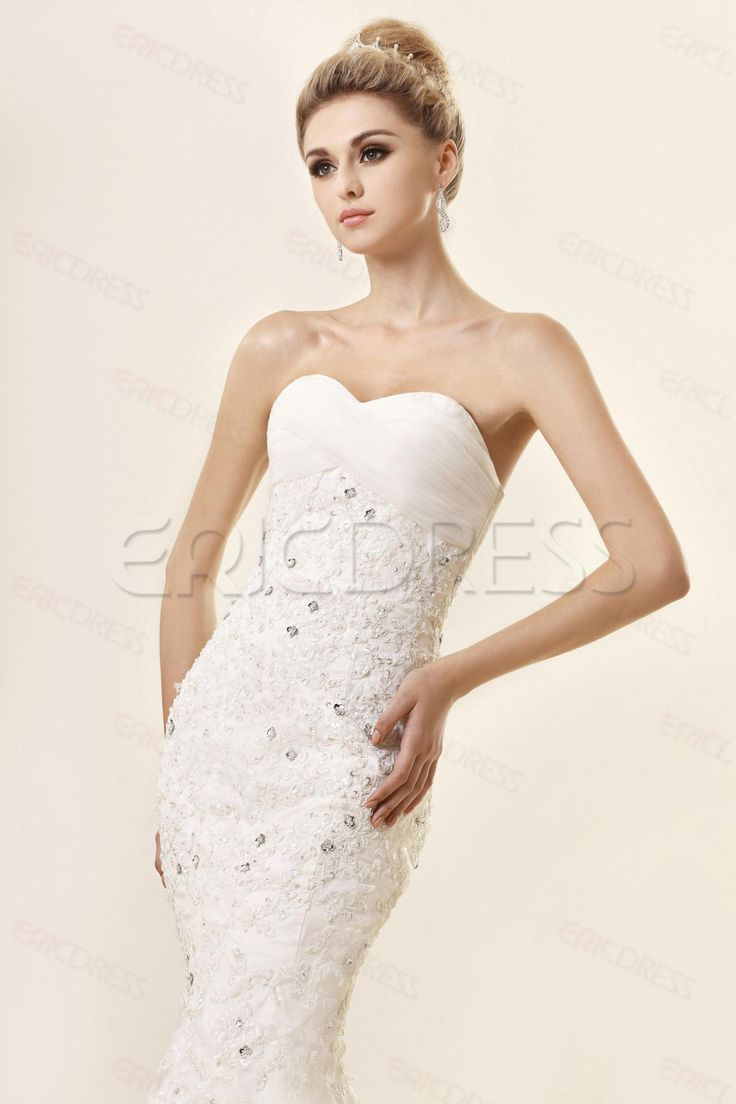Trending Cheap Trumpet Mermaid Strapless Sweetheart Floor length Lace Dash us Wedding Dress Wedding Dresses