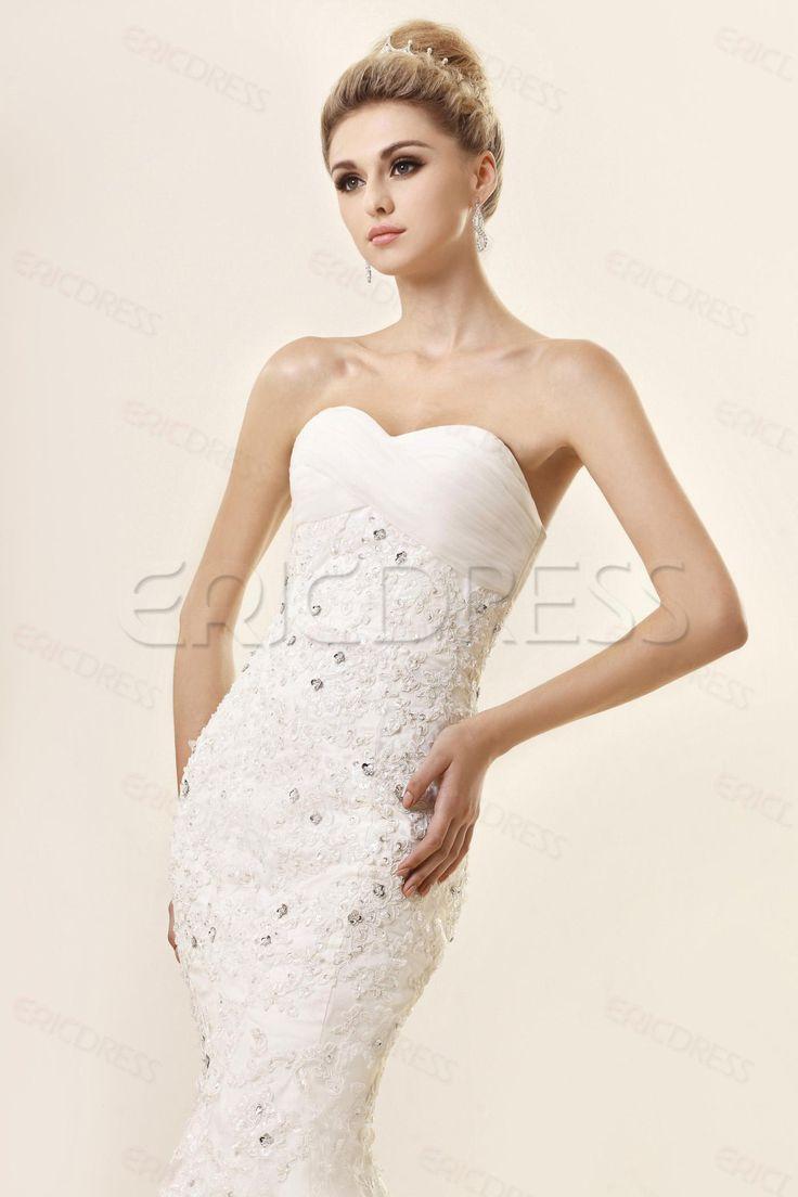 Cheap Trumpet/Mermaid Strapless Sweetheart Floor-length Lace Dash's Wedding Dress Wedding Dresses 2014- ericdress.com 9691005