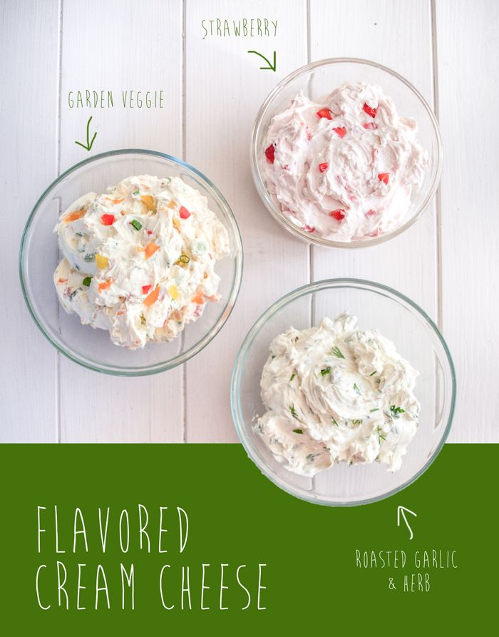 Flavored Cream Cheese. Roasted Garlic  Herb, Strawberry  Garden Veggie.