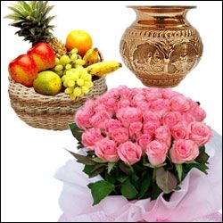 Wish your dear one on this new year day in a Traditional manner by gifting this hamper. This hamper consists of kalash + fruits basket+ 20 pink roses bunch of flowers + free greeting card + free digital photo.