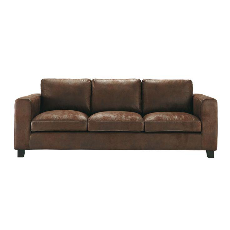 Ausziehbares 3-Sitzer-Sofa aus Kunstleder, braun Kennedy