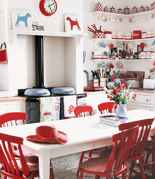 Red and white checkered kitchen with 1930s Kleenware and ceramics too much stuff but the cutest stuff on earth for a young wife right? so cute with a black and white checkeredboard on the diagonal floor yes please