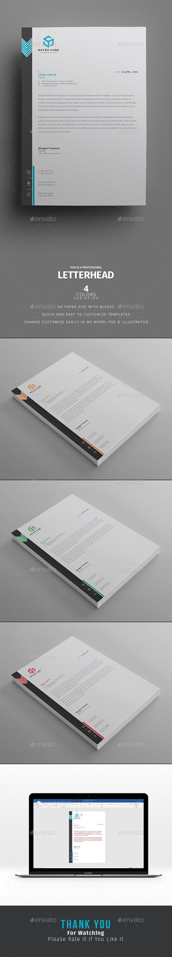 #LetterheadTemplateDesign- print ready, 300 DPI. PSD, Ai and MS Word versions with 5 different colors. Download http://graphicriver.net/item/letterhead/16130312?ref=themedevisers