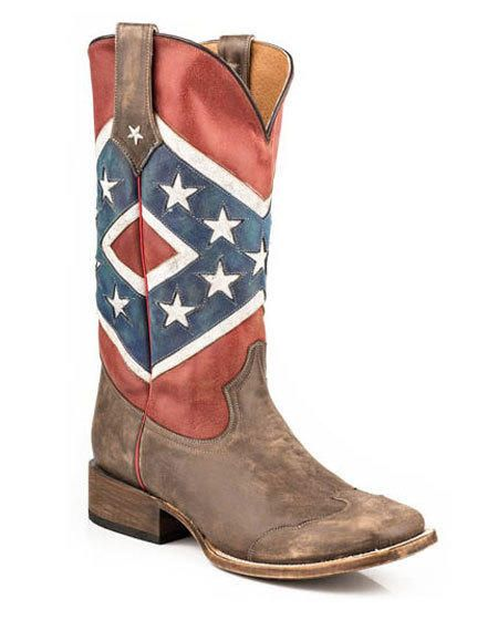 Roper Women's Rebel Flag Square Toe Distressed Boots