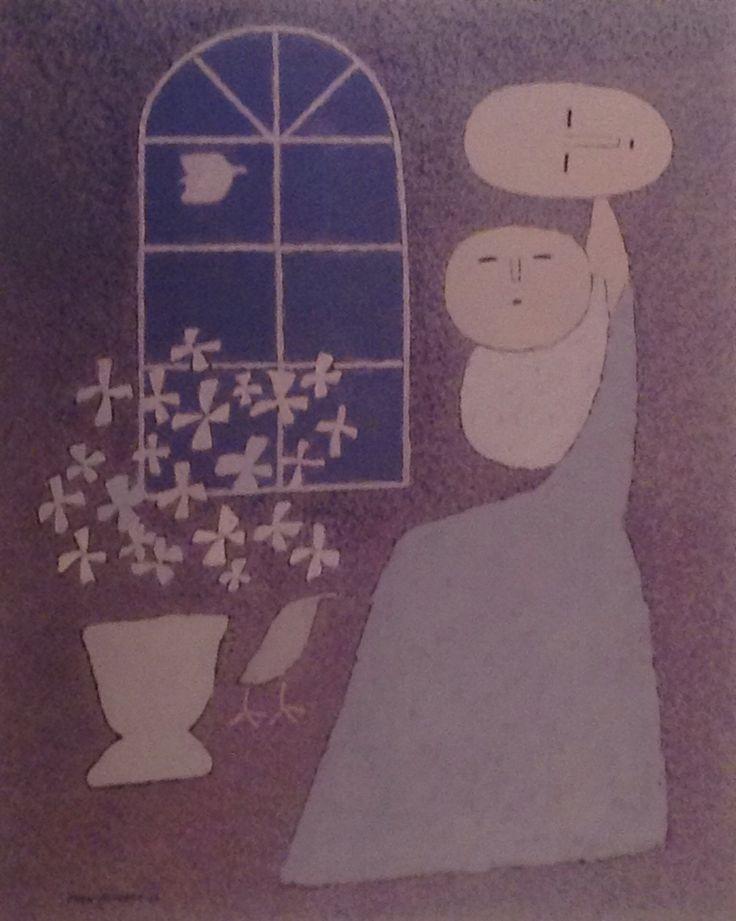 """백영수 """"창가의 母子"""" [72.7x60.6cm] 1988"""