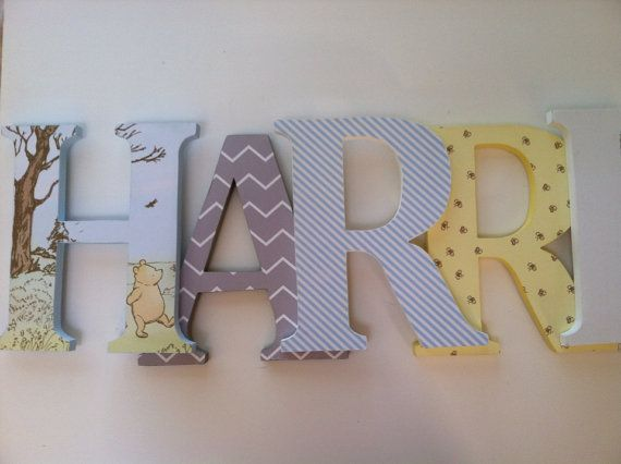 classic pooh themed wooden nursery letters stand up initial monogram