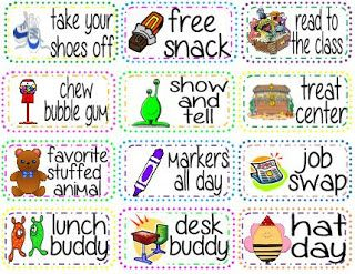 good Behavior coupons - put them in a jar and they get to pull out a card