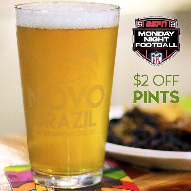 Monday Night Football is back and so is our MNF $2 Off Pint special during all NFL games on Mondays! - Also, just a quick reminder that tomorrow is our Beer and Cupcake event with @gigglinggoodiesbyrisa at 7pm. Online ticket sales will close tonight at 10pm. After tonight, you will have to buy tickets at the door if we are not sold out yet. Please visit the link in our bio to pre-purchase your tickets. #sandiego #sandiegoconnection #sdlocals #sandiegolocals - posted by Novo Brazil Brewing…