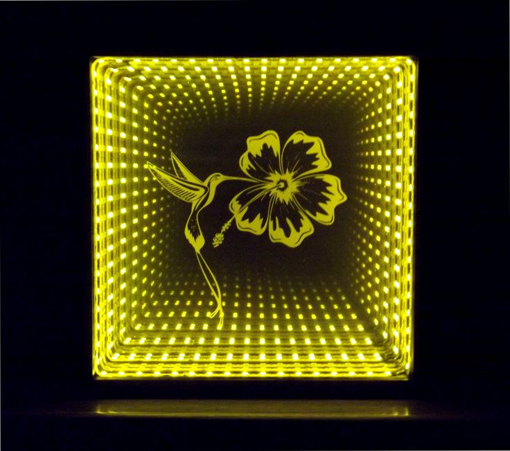 Engraved And Led Lighted Infinity Mirror Sand Carved