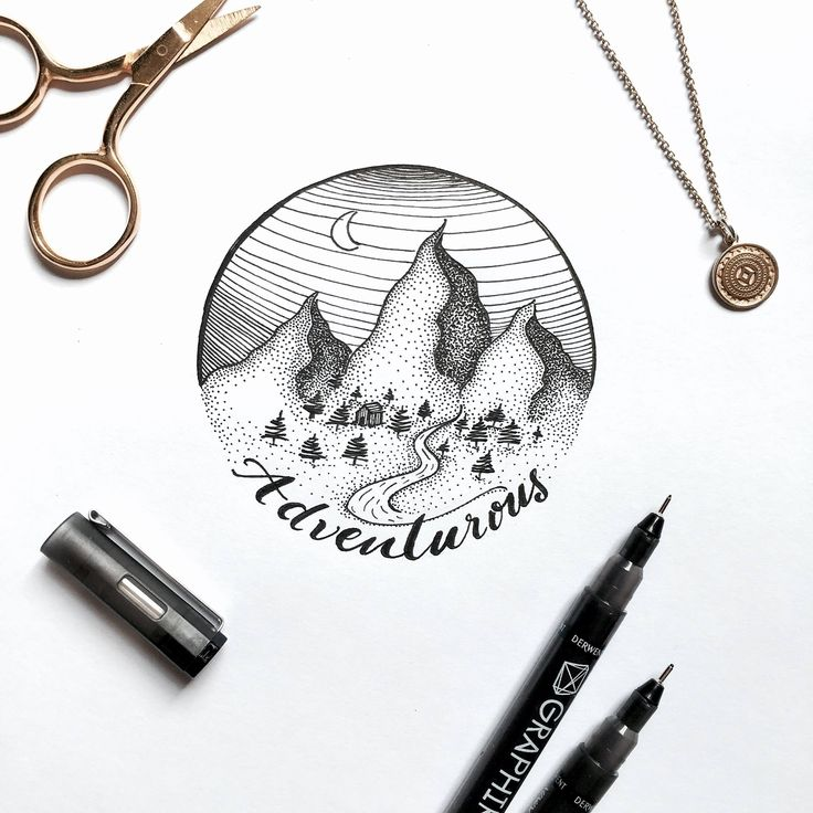 Dotted mountains illustration  . . . #illu #illustration #mountain #mountains #design #designer #creative #art #drawing #sketch #dots #dotted #moon #adventure #ciruclar #gold #photography