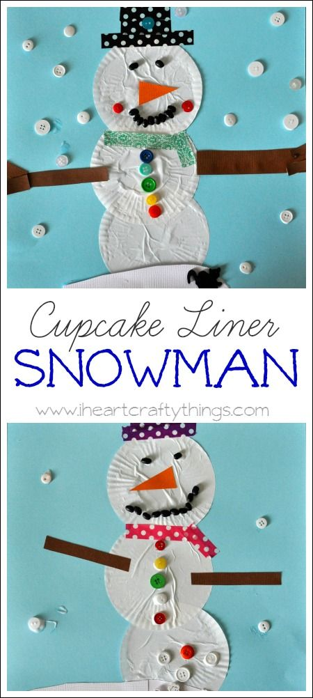Kids will love making a snowman craft out of cupcake liners. So simple and fun for the kids! From I Heart Crafty Things