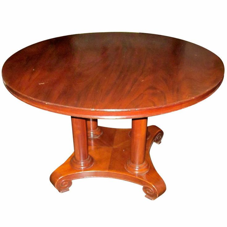19th century French side /center hall mahogany table with four column base. www.balsamoantiques.com