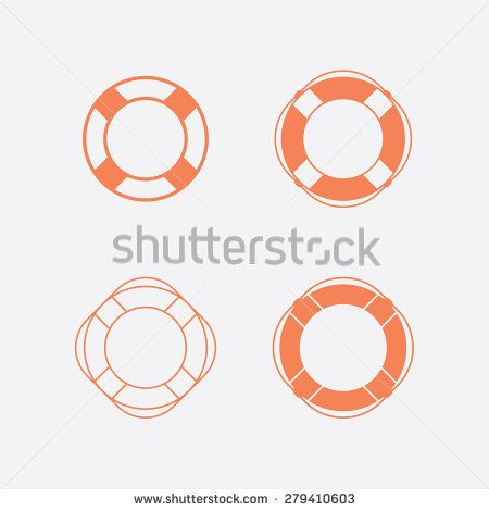 Lifebuoy / life preserver icon set. Vector illustration