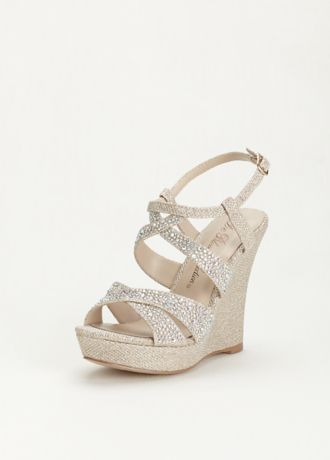 A little extra sparkle goes a long way with these crystal embellished high heel wedge sandals!  Wedge sandals are decorated with crystals along the straps.  Heel Height: 4 inches.  Available in sizes 5.5-9, 10.  Imported.