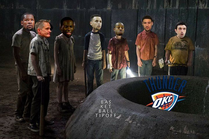 The Golden State Warriors have a new problem in town and it's a big one... One coming out of hibernation... One that includes all their fears... One that will feast on their fears... It's OKC the dancing team... It already took George with him will it take GSW with him too? The Warriors are looking like the losers club out there. Will they just like them find a way to stop it (for some time) or will OKC get it all? As long as none of the important players will be pulled down to the sewers…