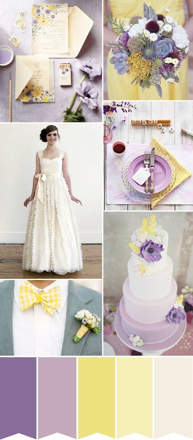 Lilac and Lemon wedding inspiration   See how to create the look on www.onefabday.com