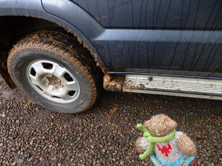 Mini Bear checks out the muddy car while visiting a lake in Rwanda in October, 2012.