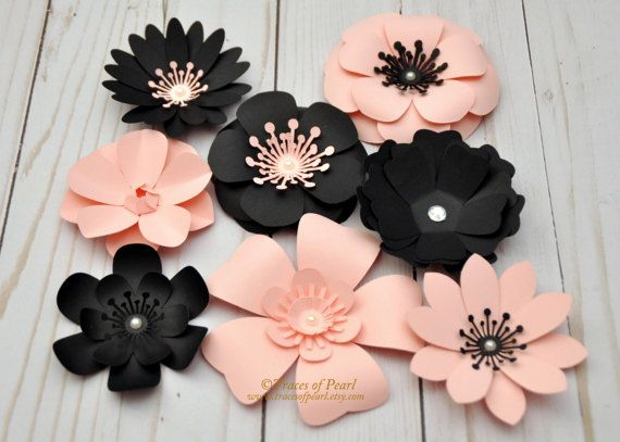 Luz rosa y flores de papel negro 8 piezas inspirado en
