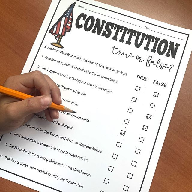 Freebie Introduce Your Constitution Unit With This Free True Or False Worksheet And Ppt Social Studies Notebook Upper Elementary Resources Constitution Day Supreme court case studies worksheets