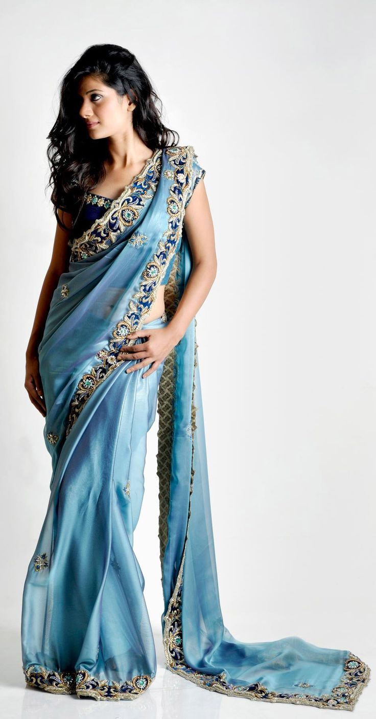 Blue Lame with Navy Blue Saree