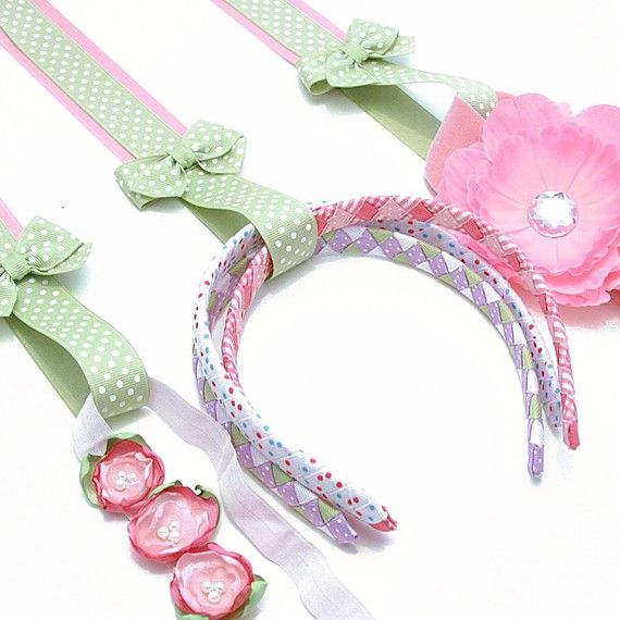 loops at the bottom of hairbow holder for headbands, velcro closed loops for elastics
