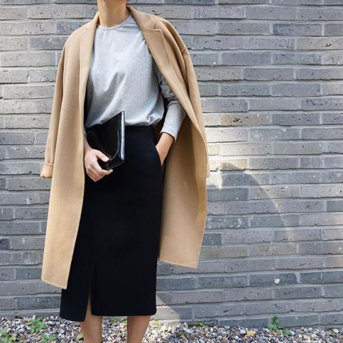 Camel coat, grey long sleeve t-shirt + black split front skirt   @styleminimalism