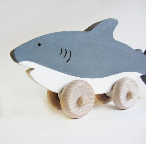 Wooden shark toy