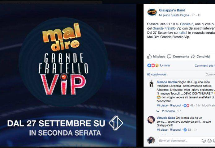 La Gialappa's Band torna con Mai Dire Grande Fratello VIP su Italia 1: l'appuntamento è dal 27 Settembre in seconda serata.