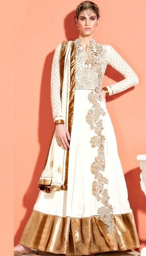 white poly georgette embroidered unstitch anarkali suit with chiffon dupatta