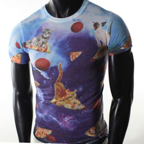 Mens Universe Sublimation Cat Galaxy Pizza Humor Funny Pepperoni Et 70s Tshirt | eBay
