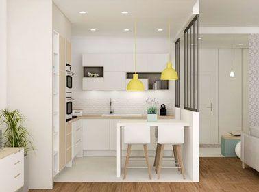 Une mini cuisine verrière ouverte sur le salon