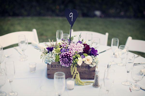 I love this vintage purple reception center pieceCenterpieces Ideas, Centerpieces Flower, Simple Centerpieces, Rustic Centerpieces Boxes, Wedding Centerpieces, Flower Boxes, Center Piece, Rustic Wedding, Purple Flower