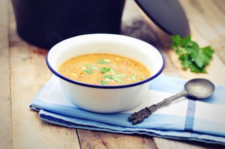 aubergine soep met pijnboompitjes, een heerlijke en gezonde soep met lekker veel aubergine, wel 500 gram voor 2 personen! Zo kom je wel aan je portie groente