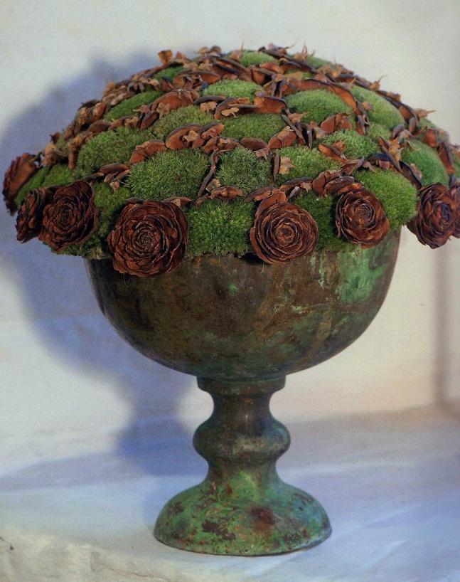 cones + moss in copper urn = texture