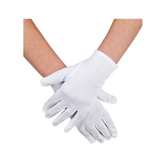 Voordelige witte handschoenen kort. Witte handschoenen voor volwassenen.