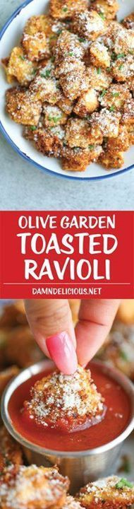 Olive Garden Toasted Olive Garden Toasted Ravioli - Everyone...  Olive Garden Toasted Olive Garden Toasted Ravioli - Everyone FAVORITE appetizer easily made at home with half the calories and fat - its healthier and tastier of course! Recipe : http://ift.tt/1hGiZgA And @ItsNutella  http://ift.tt/2v8iUYW