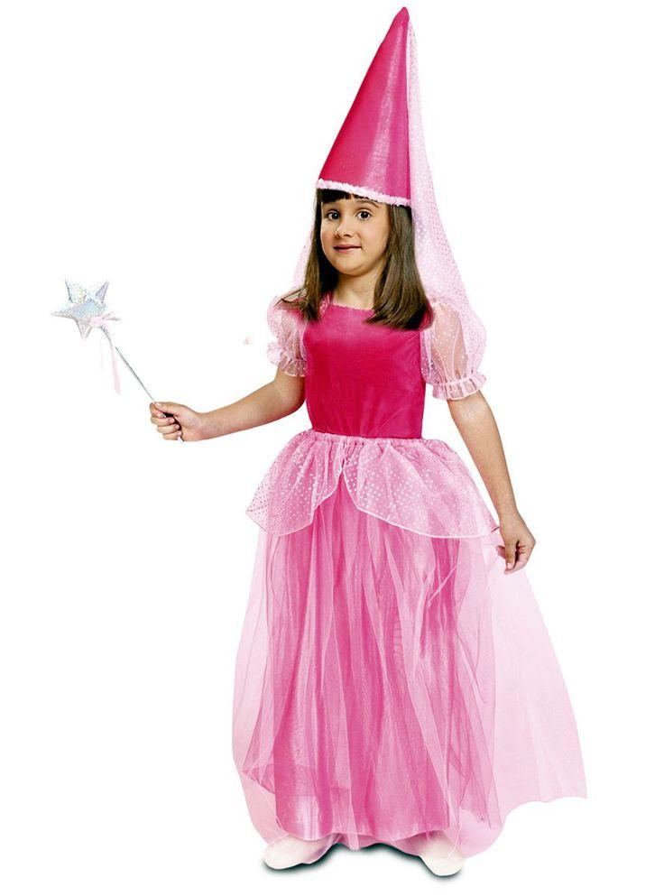 Disfraz de Hada Madrina de cuento color rosa para niña
