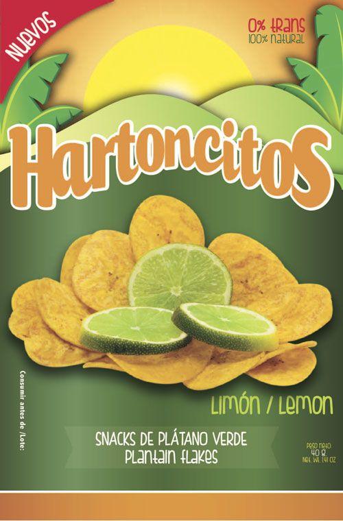Diseño gráfico de empaque para producto de Snacks. Marca Colsnacks. Submarca Hartoncitos. Hojuleas de plátano con limón