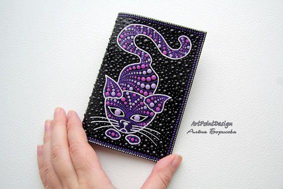 Passport cover Leather passport holder unique case cat