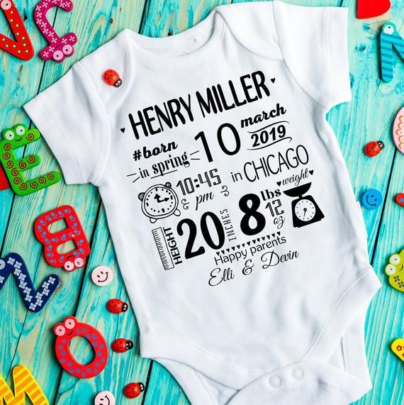 Birth announcement onesie Hospital take home outfit Birth Keepsake newborn photo onesie Baby birth stats Personalized onesie New mom gift
