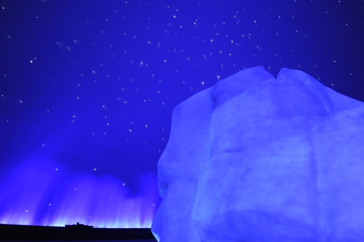 An ice berg under a night's sky in the new Titanic exhibit.