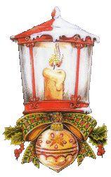 Rode Lantaarn met kerstbal (Anim.)