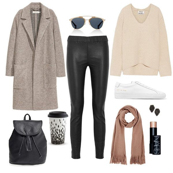 Throw on a pair of leather leggings, a cozy knit, and a pair of chic sneakers for a cool weekend outfit.