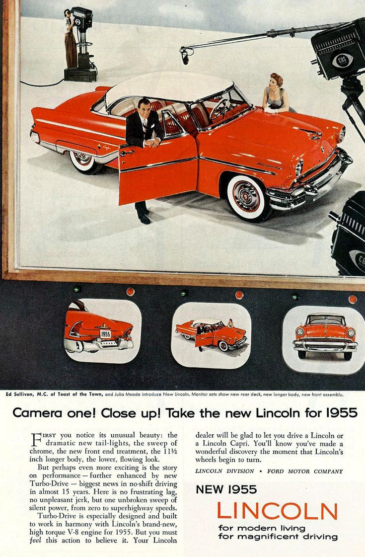 1955 lincoln capri ed sullivan ad 55 red convertible vintage wall art classic car advertisement retro print decor