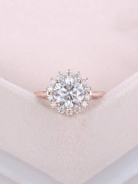 Vintage Art Deco Rose Gold Engagement Ring Moissanite Flower Shape